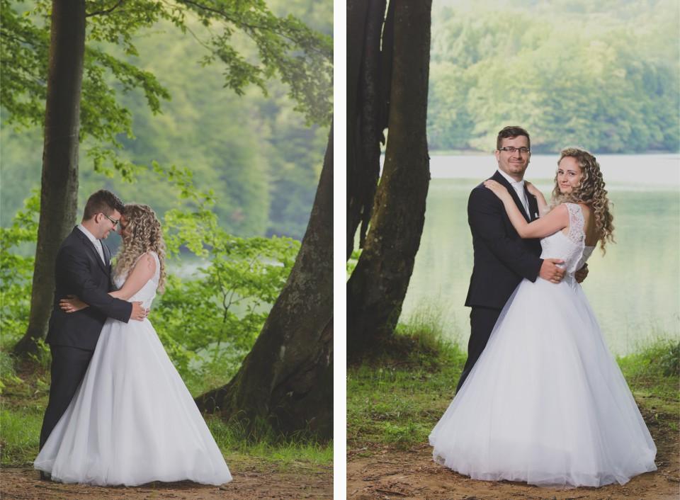 Umelecke svadobne portrety v lese pri jazierku nedaleko Michaloviec