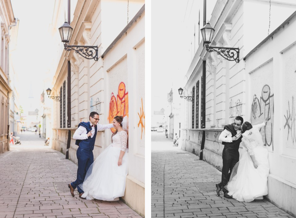 Svadobné portréty Mišky a Michala v uliciach a okolí Košíc